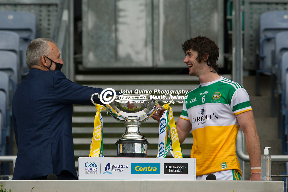 01–08-21.<br /> Derry v Offaly - Christy Ring Cup Final at Croke Park.<br /> GAA President Larry McCarthy, presenting the Christy Ring Cup to Offaly captain Ben Conneely.<br /> Photo: the John Quirke / www.quirke.ie<br /> ©John Quirke Photography, 16 Proudstown Road, Navan. Co. Meath. (info@quirke.ie / 046-9028461 / 087-2579454).