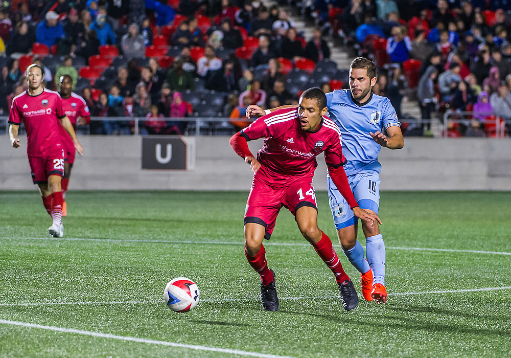 Ottawa Fury FC defender Onua Obasi (#14) during the NASL match between the Ottawa Fury FC and Minnesota United FC at TD Place Stadium in Ottawa, ON. Canada on Sept. 24, 2016. Fury extending their unbeaten run to 7 games with a 3-1 win after trailing 1-0 at half time.<br /> <br /> PHOTO: Steve Kingsman/Freestyle Photography