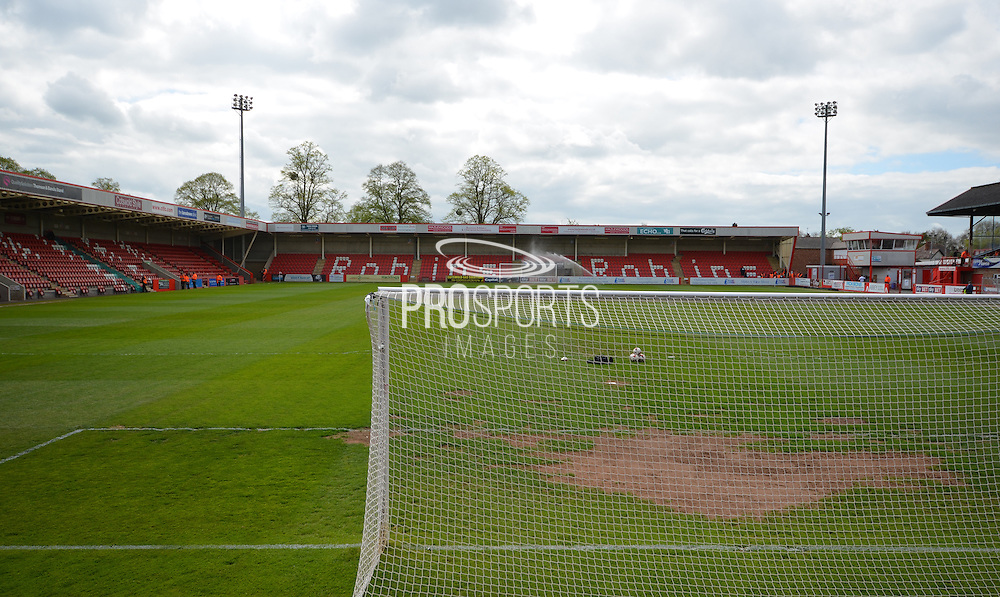 Whaddon Road during the Sky Bet League 2 match between Cheltenham Town and Shrewsbury Town at Whaddon Road, Cheltenham, England on 25 April 2015. Photo by Alan Franklin.