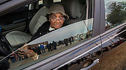 Denmark, SC _ FEBRUARY 12, 2016: Waiting in her car for the doors to be open 86-year-old Jasie M. Kinard of Bamberg County watches the line for presidential candidate Hillary Clinton grow during a campaign stop at Denmark-Olar Elementary School gymnasium, Thursday, Feb. 11, 2016 in Denmark, S.C.  CREDIT: Stephen Morton for The New York Times