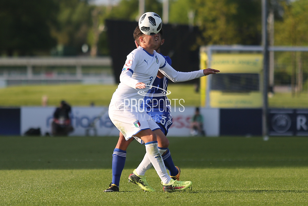 Giorgio Brogni of Italy (3) during the UEFA European Under 17 Championship 2018 match between Israel and Italy at St George's Park National Football Centre, Burton-Upon-Trent, United Kingdom on 10 May 2018. Picture by Mick Haynes.