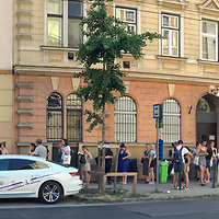 Crowd of people queue at a bookshop discount sale in Budapest, Hungary on July 7, 2021. ATTILA VOLGYI