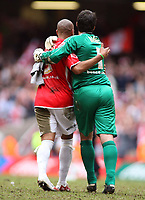 Photo: Rich Eaton.<br /> <br /> Grimsby Town v Cheltenham Town. Coca Cola League 2. Play off Final. 28/05/2006. Gavin Caines and goalkeeper Shane Higgs celebrate victory and promotion after a long season