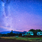 A clear night sky with stars and the milky way clearly visible from the Simba Campsite on the rim of Ngorongoro Crater in the Ngorongoro Conservation Area, part of Tanzania's northern circuit of national parks and nature preserves.