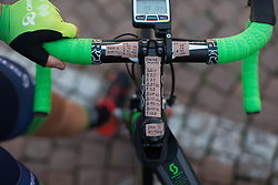 Lizzie Williams (Orica-Greenedge Cycling Team) shows her 'notes' for the Trofeo Alfredo Binda - a 123.3km road race from Gavirate to Cittiglio on March 20, 2016 in Varese, Italy.