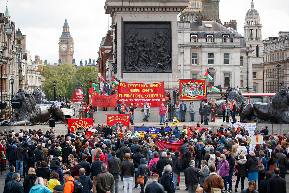 © Licensed to London News Pictures. 01/05/2017. London, UK. Workers and activists attend a May Day rally in Trafalgar Square on May 1, 2017. Photo credit: Tolga Akmen/LNP