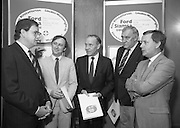 """Ford Siamsa Cois Laoi..1985..17.06.1985..06.17.1985..17th June 1985..At a press luncheon in Dublin, the names of the forthcoming artists for the Siamsa Cois Laoi music festival were announced. The artists include, Kris Kristofferson,Louden Wainwright III,.Stocktons Wing and The Wolfe Tones..The Ford sponsored festival takes place in Parc Ui Chaoimh,Cork City,on the 28th of July.This is the second year of a three year sponsorship deal.It is hoped that after the success of last years'event that this year will be bigger and better than ever..Mr Kieven,Chairman and M.D. of Ford Ireland stated """"The 1984 Ford Siamsa was Ford's first association with Ireland's Premier Folk Music Festival..Ford were very pleased with the outstanding success that was achieved and that the friendly co-operation of everyone involved helped to ensure a memorable day""""...Pictured at the announcement of the feature artists were,.Mr Hartmut Kieven,Chairman and Managing Director,Ford Ireland,Mr Frank Murphy,Secretary,Cork County Board,Mr Con Murphy, Chairman,Cork County Board,Mr Donal O'Sullivan,Chairman,Parc Ui Chaoimh,Grounds committee and Mr Oliver Barry the event promoter...Parc Ui Chaoimh is the GAA home of Cork Football and Hurling........."""