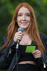 Student Patsy Stevenson, who was arrested at the Sarah Everard vigil, addresses a Kill The Bill protest in Parliament Square against the Police, Crime, Sentencing and Courts (PCSC) Bill 2021 as MPs consider amendments to the Bill in the House of Commons on 5th July 2021 in London, United Kingdom. The PCSC Bill would grant the police a range of new discretionary powers to shut down protests, including the ability to impose conditions on any protest deemed to be disruptive to the local community, wider stop and search powers and sentences of up to 10 years in prison for damaging memorials.