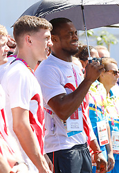 EXCLUSIVE: The English Commonwealth Games team at their Welcome Ceremony at Games Village on the Gold Coast. Some team members got into the music and danced with the Indigenous dancers. 02 Apr 2018 Pictured: Boxer Cheavon Clarke along side McCormack twin Welcome Ceremony. Photo credit: MEGA TheMegaAgency.com +1 888 505 6342