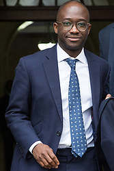London, UK. 9th April 2019. Sam Gyimah, Conservative MP for East Surrey, leaves the People's Vote rally in Westminster.
