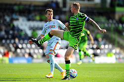 Carl Winchester of Forest Green Rovers challenges Billy Clarke of Bradford City- Mandatory by-line: Nizaam Jones/JMP - 19/09/2020 - FOOTBALL - New Lawn Stadium - Nailsworth, England - Forest Green Rovers v Bradford City - Sky Bet League Two