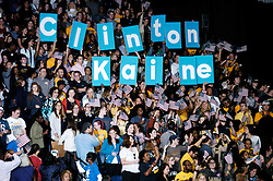 September 28, 2016 - Philadelphia, PA, United States - A crowd of students, hold up placards spelling out Clinton, Kaine  in Philadelphia, PA on September 28, 2016. (Credit Image: © Cory Clark/NurPhoto via ZUMA Press)