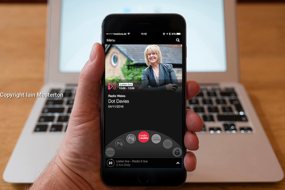 Using iPhone smartphone to display show on BBC Wales Network radio station