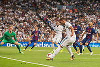 Real Madrid's Theo Hernandez and Karim Benzema and FC Barcelona's Marc-Andre Ter Stegen and Javier Mascherano during Supercup of Spain 2nd match at Santiago Bernabeu Stadium in Madrid, Spain August 16, 2017. (ALTERPHOTOS/Borja B.Hojas)