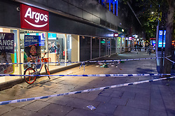 © Licensed to London News Pictures. 04/09/2019. London, UK. Two males have been stabbed at the W12 shopping centre in Shepard's Bush. Police were called at 18:15BST following a report of a group of people involved in an altercation. Metropolitan Police and the London Ambulance Service attended and found two males suffering stab injuries. The victims injuries are not life threatening. Three females & two males were arrested and are in custody for various offences including attempted murder & GBH. All those involved - the two victims & five arrested - are aged between 17 and 24. Photo credit: Peter Manning/LNP