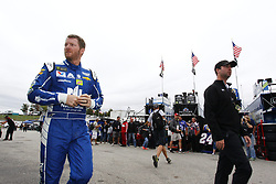 September 22, 2017 - Loudon, New Hampshire, United States of America - September 22, 2017 - Loudon, New Hampshire, USA: Dale Earnhardt Jr. (88) hangs out in the garage during practice for the ISM Connect 300 at New Hampshire Motor Speedway in Loudon, New Hampshire. (Credit Image: © Justin R. Noe Asp Inc/ASP via ZUMA Wire)