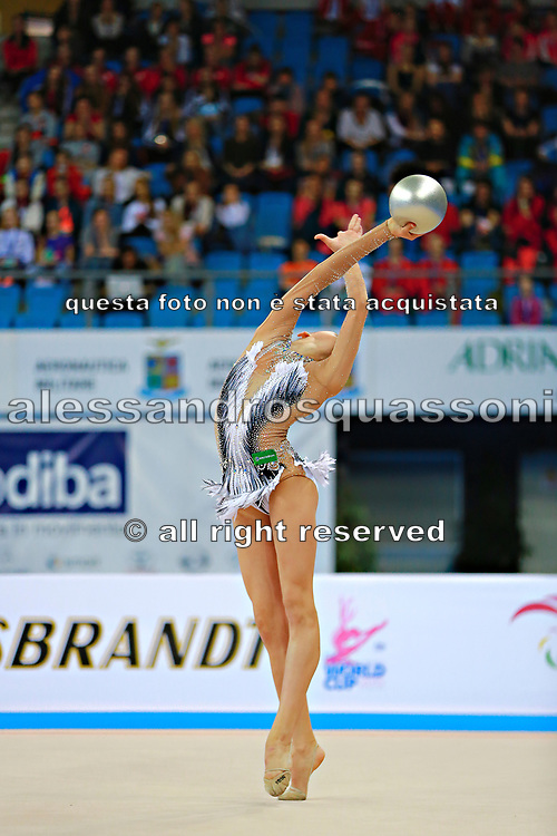 Soldatova Alexandra during final at ball in Pesaro World Cup at Adriatic Arena on April 12, 2015. Alexandra was born in Pushkino on June 01,1998. She is a rhythmic gymnast member of the Russian National Team. Her nickname for the friends is Sasha.