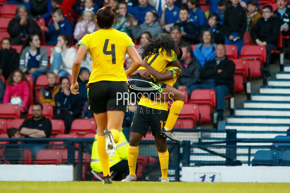 GOAL! Jamaicas Khadija SHAW (Univ. Tennessee (USA))scores her 2nd early in the 2nd half to get level, during the International Friendly match between Scotland Women and Jamaica Women at Hampden Park, Glasgow, United Kingdom on 28 May 2019.