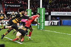 December 15, 2018 - Toulouse, France - Romain Ntamack goes for score during Toulouse 42:27 Wasps: Champions Cup match. (Credit Image: © Panoramic via ZUMA Press)
