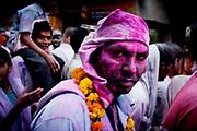 Holi festival, India, on wednesdayday, mar. 11, 2009. The streets on Vrindavan