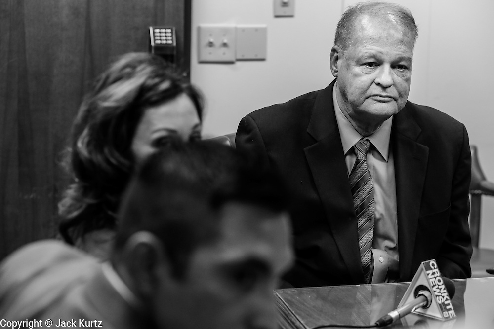 21 OCTOBER 2013 - PHOENIX, AZ: Arizona Attorney General TOM HORNE at a meeting with DREAM Act protesters. The DREAMers are protesting the decision by Attorney General Horne to sue the Maricopa County Community College District to force the district to charge in-state tuition to the young people who qualify for the federal government deferred-action program.   PHOTO BY JACK KURTZ