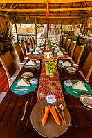 Open air dining room, Kwara Camp, Okavango Delta, Botswana.
