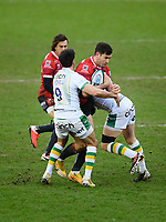 Rugby Union - 2020 / 2021 Gallagher Premiership - Gloucester vs Northampton Saints - Kingsholm<br /> <br /> Gloucester's Mark Atkinson is tackled by Northampton Saints' Alex Mitchell.<br /> <br /> COLORSPORT/ASHLEY WESTERN