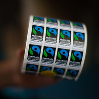 Fairtrade stickers for organic bananas at APPBOSA, Peru.
