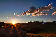 USA, Colorado, Rocky Mountain National Park, sunset from Forest Canyon Overlook.
