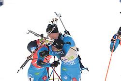 14.02.2021, Center Pokljuka, Pokljuka, SLO, IBU Weltmeisterschaften Biathlon, Sprint, Herren, im Bild desthieux (simon) (fra), jacquelin (emilien) (fra), // during mens Sprint competition of IBU Biathlon World Championships at the Center Pokljuka in Pokljuka, Slovenia on 2021/02/14. EXPA Pictures © 2021, PhotoCredit: EXPA/ Pressesports/ Frederic Mons<br /> <br /> *****ATTENTION - for AUT, SLO, CRO, SRB, BIH, MAZ, POL only*****
