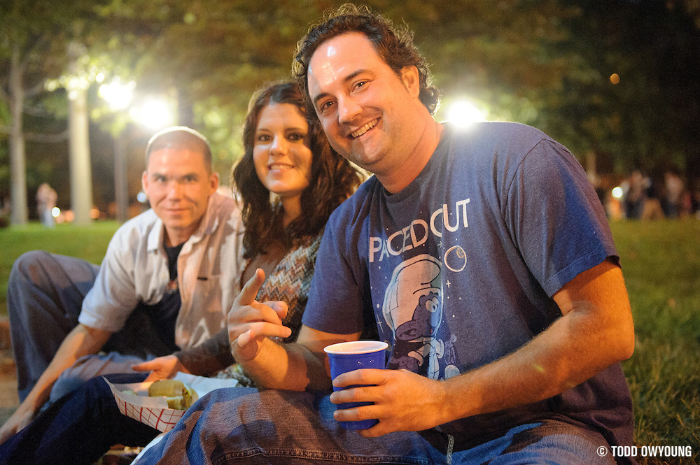 Widespread Panic fans sitting in the Eternal Flame Park across from the Peabody Opera House before the show.
