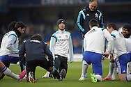 Eden Hazard of Chelsea (c) looking on during pre-match training. Barclays Premier league match, Chelsea v Southampton at Stamford Bridge in London on Sunday 15th March 2015.<br /> pic by John Patrick Fletcher, Andrew Orchard sports photography.