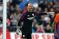 Manchester city goalkeeper Willy Caballero in action. EFL Cup. 3rd round match, Swansea city v Manchester city at the Liberty Stadium in Swansea, South Wales on Wednesday 21st September 2016.<br /> pic by  Andrew Orchard, Andrew Orchard sports photography.