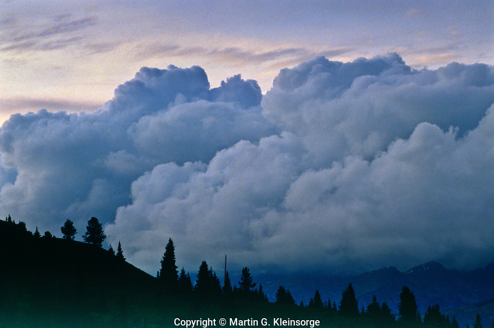 Stratocumulus clouds covering Vail Valley area.  Viewed from Shrine Pass area.  Colorado.