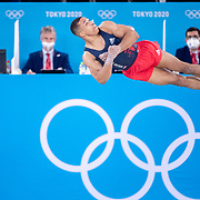 TOKYO, JAPAN - JULY 28: Joe Fraser of Great Britain performing his floor routine during the Men's All Round competition at Ariake Gymnastics Centre at the Tokyo 2020 Summer Olympic Games on July 28, 2021 in Tokyo, Japan. (Photo by Tim Clayton/Corbis via Getty Images)