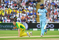 Cricket - 2019 ICC Cricket World Cup - Semi-Final: England vs. Australia<br /> <br /> England's Jonny Bairstow straight drives past Australia's Jason Behrendorff, at Edgbaston, Birmingham.<br /> <br /> COLORSPORT/ASHLEY WESTERN