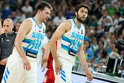 Luka Doncic of Slovenia and Michael Edward Tobey of Slovenia during friendly basketball match between National teams of Slovenia and Croatia, on June 18, 2021 in Arena Stozice, Ljubljana, Slovenia. Photo by Vid Ponikvar / Sportida