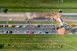 Trunk with 12 tons of liquid chocolate has overturned on A2 Highway in Poland on May 9, 2018. The highway was blocked in both directions. Driver was taken to the hospital. Fire brigades remove the chocolate with hot water. Photo by Bartosz Jankowski/Newspix/ABACAPRESS.COM