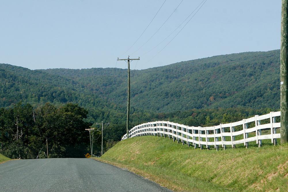 A white fence line near Batesville, Virginia.