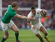 Twickenham. Great Britain.<br /> Antony Watson, slips past Andrew TRIMBLE, during the first half of the <br /> RBS Six Nations Rugby, England vs Ireland at the RFU Twickenham Stadium. England.<br /> <br /> Saturday  27/02/2016. <br /> <br /> [Mandatory Credit; Peter Spurrier/Intersport-images]
