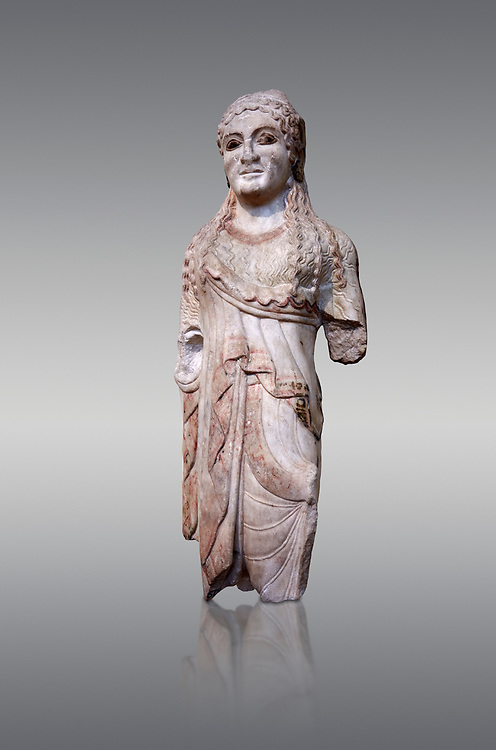 Ancient Greek Archaic statuette of a  kore, found in the Acropolis Athens, 500-490 BC, Athens National Archaeological Museum. Cat no BE 15/2009.  Against grey.<br /> <br /> The kore statues hair is adorned with a wreath and her ears by round disk earings. Traces of paint can be found on her garments and jewellery. Red paint was found on her hair and eyes. Acropolis Museum Cat no 676, 257 .<br /> <br /> If you prefer to buy from our ALAMY STOCK LIBRARY page at https://www.alamy.com/portfolio/paul-williams-funkystock/greco-roman-sculptures.html . Type -    Athens    - into LOWER SEARCH WITHIN GALLERY box - Refine search by adding a subject, place, background colour, etc.<br /> <br /> Visit our ROMAN WORLD PHOTO COLLECTIONS for more photos to download or buy as wall art prints https://funkystock.photoshelter.com/gallery-collection/The-Romans-Art-Artefacts-Antiquities-Historic-Sites-Pictures-Images/C0000r2uLJJo9_s0