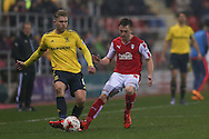 Middlesbrough midfielder Adam Clayton (8)  and Rotherham United midfielder Lee Frecklington (8)  during the Sky Bet Championship match between Rotherham United and Middlesbrough at the New York Stadium, Rotherham, England on 8 March 2016. Photo by Simon Davies.