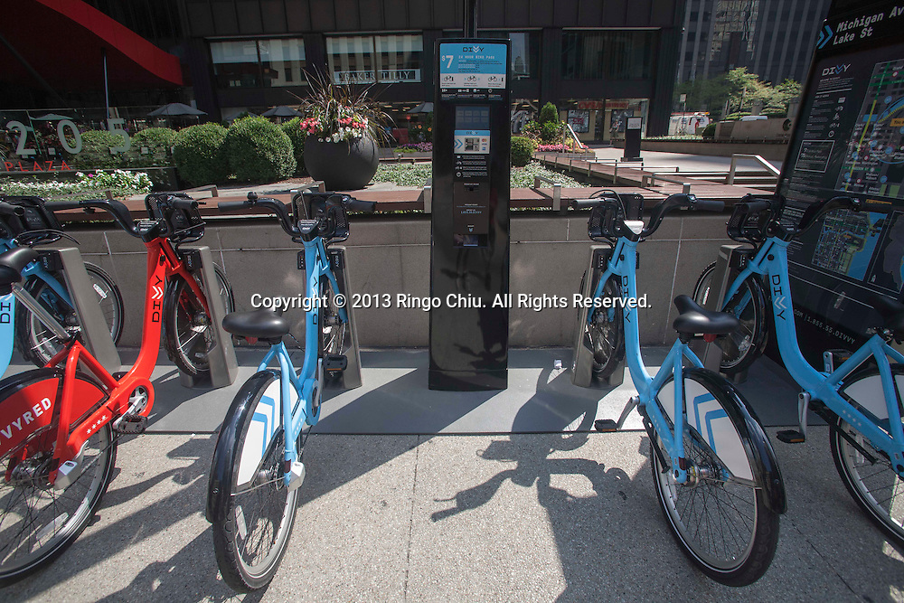 Bikes are seen at a Divvy Station on Monday, August. 19, 2013 in Chicago, Illinois. Divvy is a bicycle sharing system that launched in Chicago on June 28, 2013 with 750 bikes at 75 stations spanning from the Loop north to Fullerton Ave, west to Damen Ave, and south to 23rd St. The system is planned to grow to 3000 bikes at 300 stations by August 2013 and 4,000 bicycles at 400 stations by Spring 2014.(Photo by Ringo Chiu/PHOTOFORMULA.com)