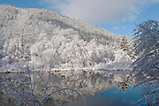 Willow trees, alder trees, Indian Creek, fresh snow, clearing winter storm, Sierra Nevada Mountains, California rivers, blue sky, Plumas National Forest, reflections pool, cool water pools