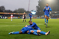AFC Wimbledon striker Joe Pigott (39) celebrating after scoring goal to make it 1-0 during the The FA Cup match between AFC Wimbledon and Doncaster Rovers at the Cherry Red Records Stadium, Kingston, England on 9 November 2019.