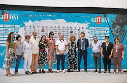 July 26, 2018 - Salerno, Campania, Italy - Team of the film Zanna Bianca seen posing for the camera at the festival..The 48th edition of the Giffoni Film Festival, a cinema for children. (Credit Image: © Ernesto Vicinanza/SOPA Images via ZUMA Wire)