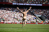 Picture by Andrew Tobin/Tobinators Ltd +44 7710 761829.26/05/2013.A streaker runs onto the pitch during the match between England and the Barbarians at Twickenham Stadium, Twickenham.