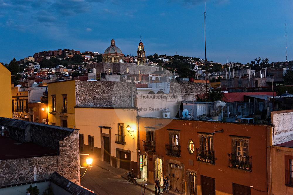 Twilight over the historic Spanish Colonial district of San in Miguel de Allende, Guanajuato, Mexico.