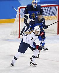 February 11, 2018 - Pyeongchang, KOREA - United States forward Gigi Marvin (19) during women's hockey group A play during the Pyeongchang 2018 Olympic Winter Games at Kwandong Hockey Centre. The USA beat Finland 3-1. (Credit Image: © David McIntyre via ZUMA Wire)