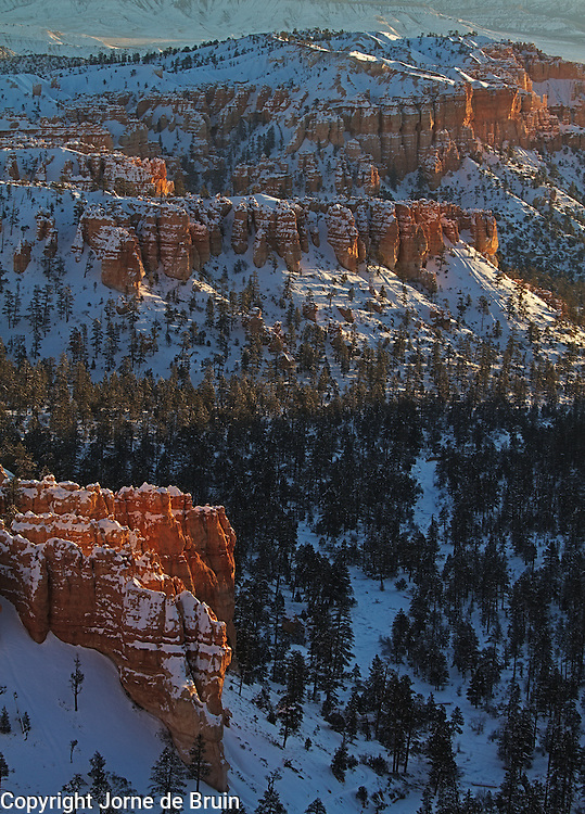 A view of a snowy Bryce Canyon in Wintertime.